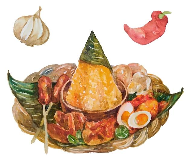 Tumpeng de comida indonésia em aquarela