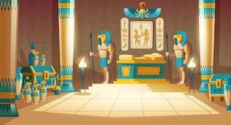 Túmulo de faraó dos desenhos animados com sarcófago de ouro, estátuas de deuses com cabeças de animais, colunas