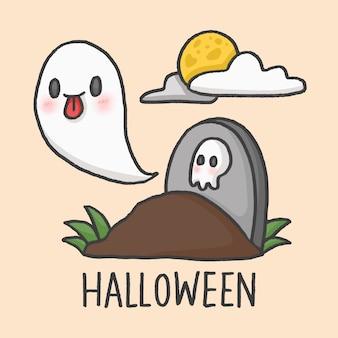 Túmulos de fantasma de halloween dos desenhos animados mão desenhada estilo