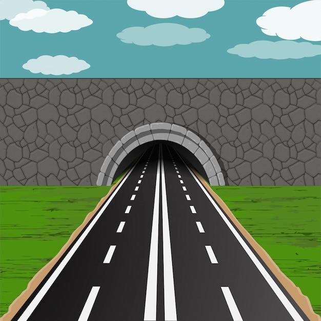 Túnel com ilustração de estrada