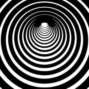 Túnel de linhas circulares em preto e branco fundo listrado motivo de listras com curvas para preenchimentos de página