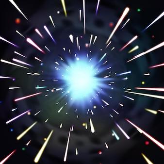 Túnel de luz ou túnel futurista de luz de fractal. túnel no universo e caos dinâmico