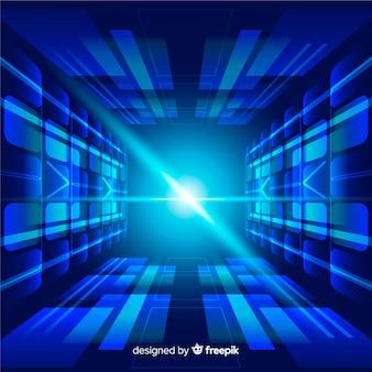 Túnel de luz tecnológico fundo design plano