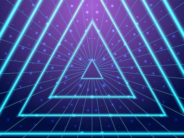 Túnel de néon de fundo synthwave anos 80 estilo