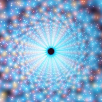 Túnel de redemoinho infinito de vetor de foguetes brilhantes no fundo. os pontos brilhantes formam os setores do túnel.