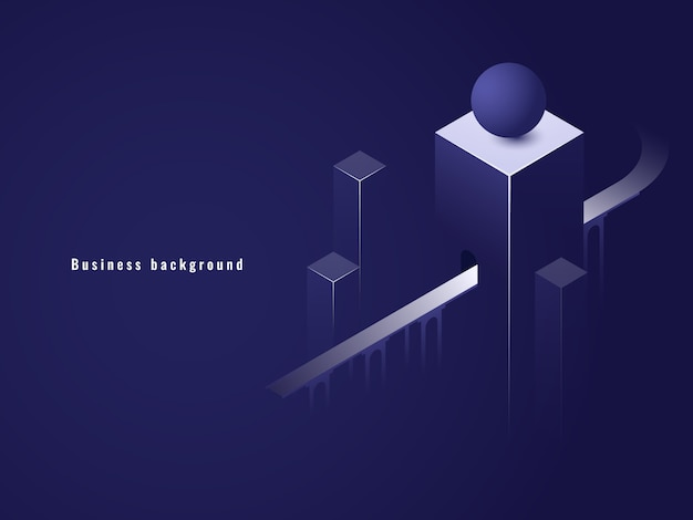 Túnel isométrico, conceito de negócio, estrada