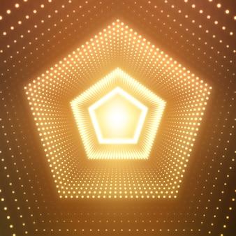 Túnel pentagonal infinito de reflexos brilhantes em fundo laranja