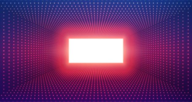 Túnel retangular infinito de foguetes brilhantes em fundo violeta.