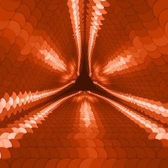 Túnel triangular infinito de vetor de círculos coloridos em fundo vermelho escuro. as esferas formam os setores do túnel. fundo colorido cibernético abstrato para seus projetos. papel de parede geométrico moderno elegante.