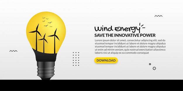 Turbina eólica dentro da lâmpada no fundo branco, conceito de energia alternativa