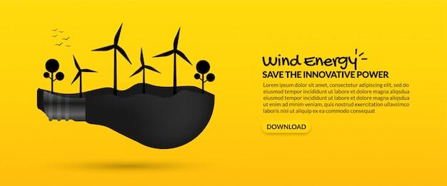 Turbina eólica dentro da lâmpada sobre fundo amarelo, conceito de energia alternativa