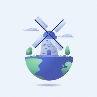 Turbina eólica e planeta verde