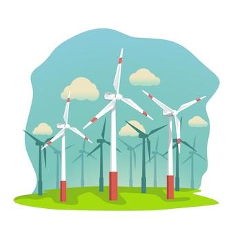Turbinas de energia eólica em campo