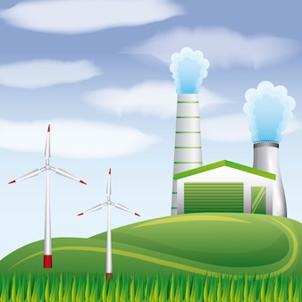 Turbinas geotérmicas de planta de biocombustível ventos na paisagem