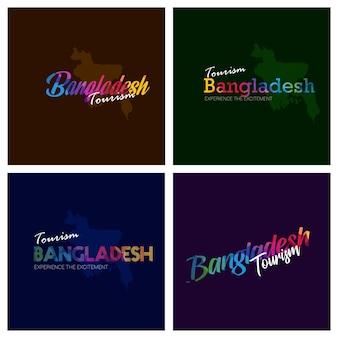Turismo bangladesh tipografia logotipo fundo conjunto