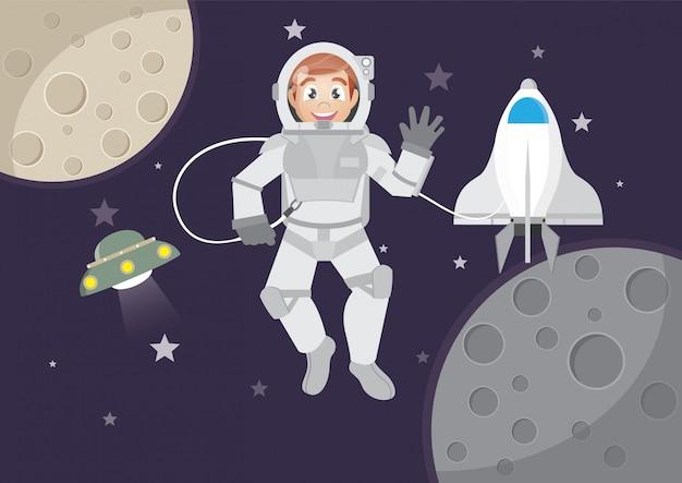 Turismo de menino no espaço.