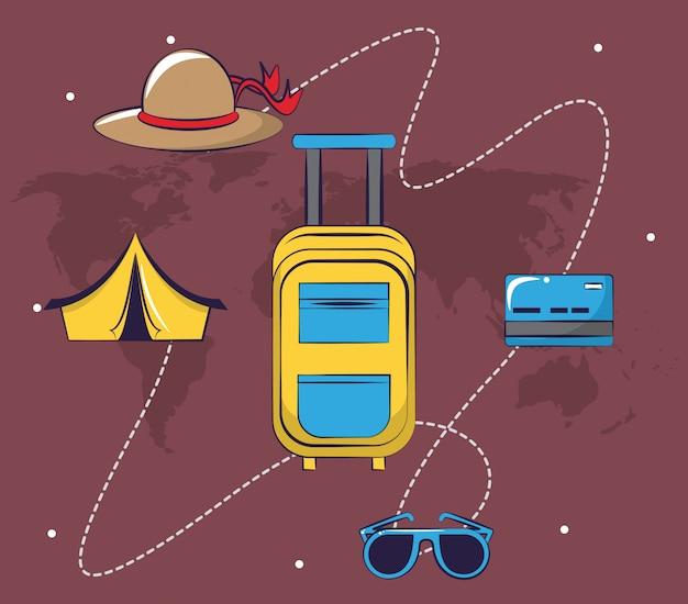 Turismo de viagem emocionante cartão de viagem fundo