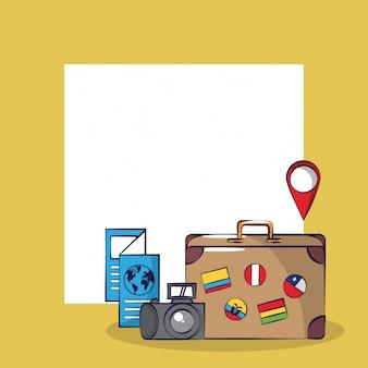Turismo de viagem emocionante cartão de viagem quadrado fundo do quadro