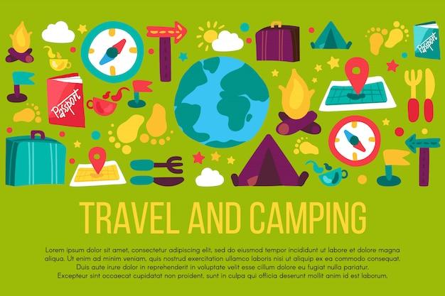 Turismo e acampamento mão desenhada banner com copyspace. recreação ao ar livre, viagem de férias, viagens pelo mundo