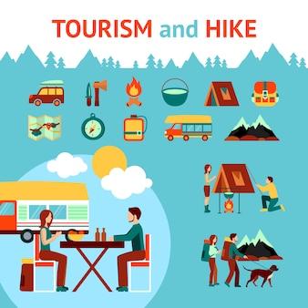 Turismo e caminhada infográficos