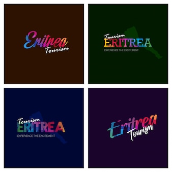 Turismo eritreia tipografia logo conjunto de fundo