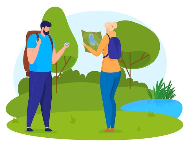 Turismo. homem com bússola, mulher com foco do mapa no terreno. estilo cartoon,