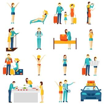 Turismo internacional viajar ícones planas definida