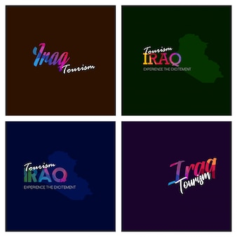 Turismo iraque tipografia logotipo fundo conjunto