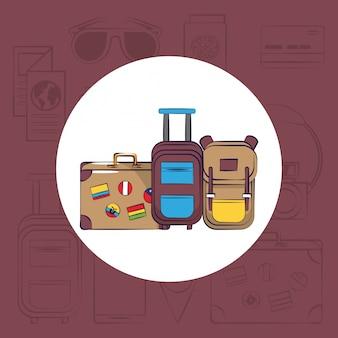 Turismo itinerante cartão de viagem emocionante redondo fundo de quadro
