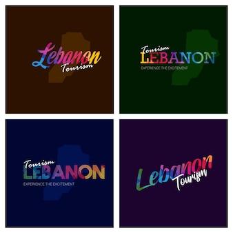 Turismo líbano tipografia logo conjunto de fundo