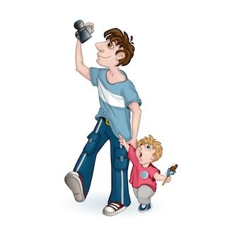 Turismo masculino com um garotinho tirando fotos de pontos turísticos.