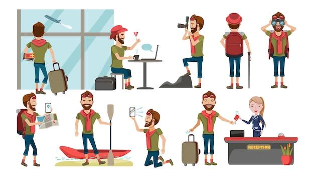 Turismo masculino no exterior. vários gestos definido.