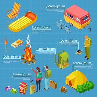 Turismo, modelo de banner informações isométricas de acampamento