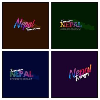 Turismo nepal tipografia logo conjunto de fundo