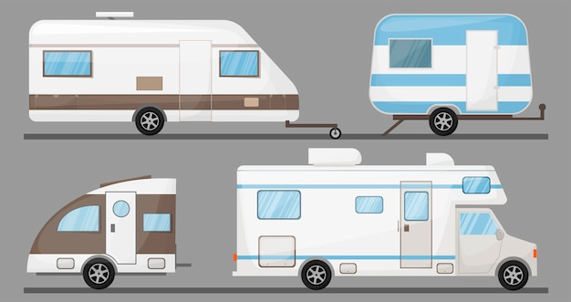 Turismo transporte veículo recreativo veículo móvel trailer camping isolado