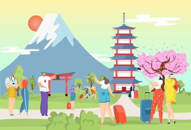 Turismo urbano em um marco cultural plano do japão