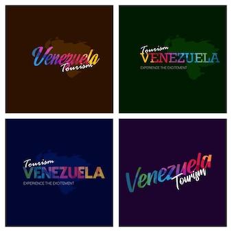 Turismo venezuela tipografia logotipo fundo conjunto