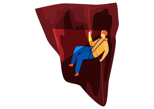 Turismo verde, alpinista na caverna, conceito de recreação ativa, ao ar livre, ilustração do estilo dos desenhos animados do projeto, isolado no branco. viagem de verão, caminhadas, turista em viagens radicais, homem sobe corda.