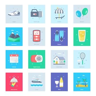 Turismo, viagem, pacote de ícones de verão