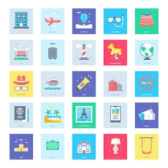 Turismo, viagens, conjunto de ícones de verão