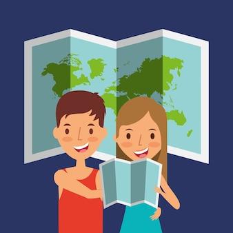 Turista casal de viajantes com mapa dobrado e fundo mundial