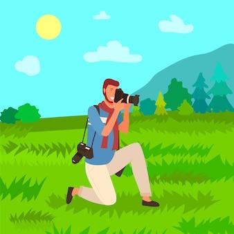 Turista com câmera fotográfica, homem fotógrafo natureza
