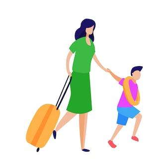 Turista com malas de rodas de criança