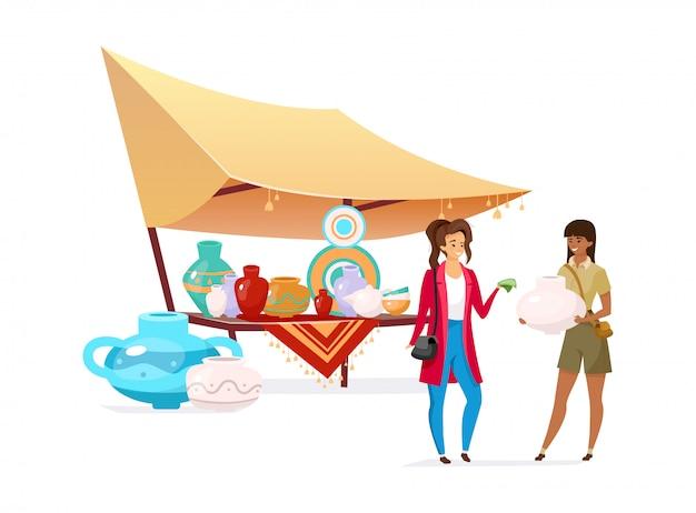 Turista, compra de cerâmica artesanal plana cor vector personagem sem rosto. viajantes no mercado oriental. toldo de bazar indiano com cerâmica trabalhada isolado ilustração dos desenhos animados