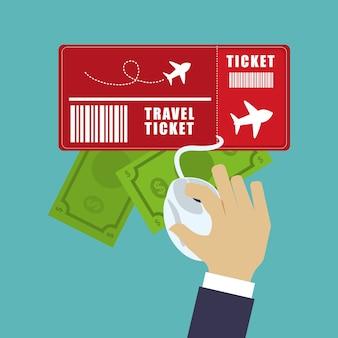 Turista de dinheiro de bilhete de viagem on-line