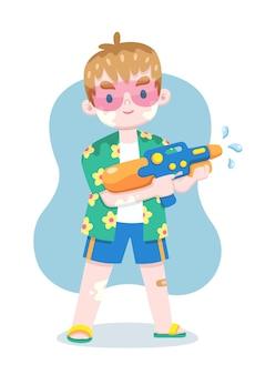 Turista de estilo fofo com camisa floral segurando a ilustração dos desenhos animados com uma pistola d'água
