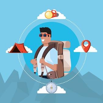 Turista de homem com saco de campismo e conjunto de ícones