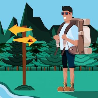 Turista de homem na zona de camping