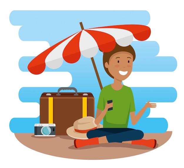 Turista de mulher com guarda-chuva e bagagem de viagem