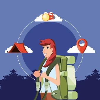 Turista de mulher com paisagem e conjunto de ícones